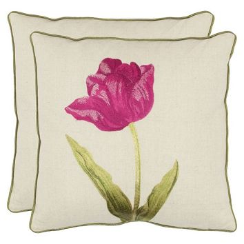 """Safavieh 2-Pack Embroidered Tulip Toss Pillows (18x18"""")"""