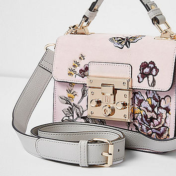 Pink embroidered mini lock front satchel bag - satchels - bags / purses - women