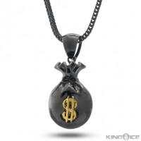 King Ice Black Money Bag Necklace