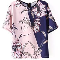 Pink and Blue Color Block Floral Print T-Shirt