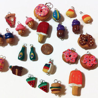 Assorted Food Charms - 25 charms, Polymer clay food, food charms, mini food, jewelry making, handmade charms, kawaii, assorted charms, gifts