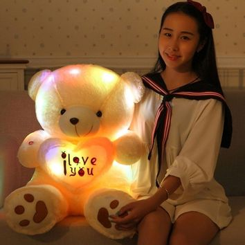 Lovely Plush 50CM Velvet Teddy Bear Multi-Color Rotation Glow Light Up Toy Gifts
