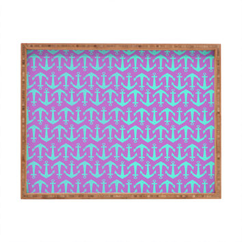 Allyson Johnson Purple Anchors Rectangular Tray