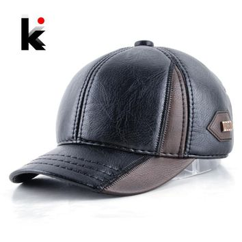 Trendy Winter Jacket Mens winter leather cap warm patchwork dad hat baseball caps with ear flaps  adjustable snapback hats for men casquette AT_92_12