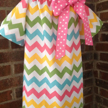 Peasant Dress - Girl, Toddler Girl, Baby Girl - Available in size 12M thru 4T - Riley Blake Chevron