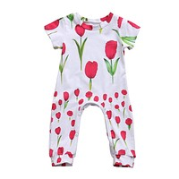 Newborn Infant Baby Girl Kids Clothing Cotton Romper Jumpsuit Short Sleeve Cotton Cute Flower Clothes Outfit