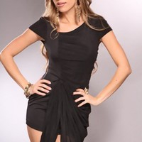 Black Short Sleeves Draped Front Ruched Fancy Dress @ Amiclubwear sexy dresses,sexy dress,prom dress,summer dress,spring dress,prom gowns,teens dresses,sexy party wear,women's cocktail dresses,ball dresses,sun dresses,trendy dresses,sweater dresses,teen c
