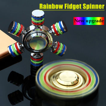 JX-6 Rainbow Fidget Spinner Metal Finger Spinner Hand Spinner Hand Brass For Autism Adult Anti Relieve Stress Fidget Toy Spiner