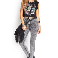 FOREVER 21 High-Waisted Acid Wash Jeans Charcoal