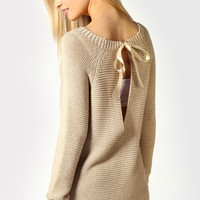 Lindsey Oversized Jumper With Key Hole Back And Ribbon Tie