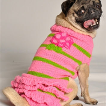 Pink Flowered Skirted Sweater