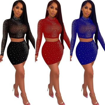Women Sexy Two Piece Sequined Sheer Long Sleeve Crop Top Skirt Set