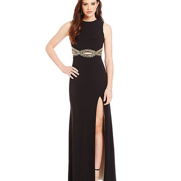 B. Darlin High-Neckline Beaded Cut-Out Waist Gown | Dillards