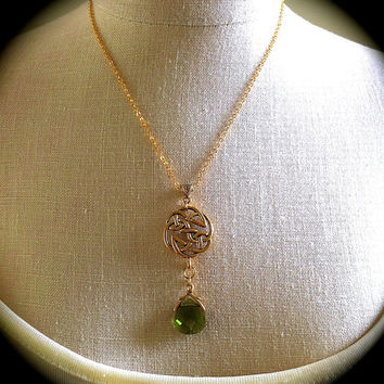 Gold Celtic Knot Necklace, Woodland Green Crystal Pendant, Irish Love Knot, Celtic Wedding Jewelry, Outlander Inspired