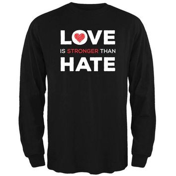 ONETOW Activist Love is Stronger Than Hate World Peace Equality Mens Long Sleeve T Shirt