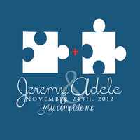 Puzzle Pieces Custom Wedding Art Gift - 8x10 - Names, Personalized, Date, Engagement, Anniversary Gift, For Husband, You Complete Me, Love
