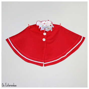 Girls Poncho cape - Red wool Poncho cape