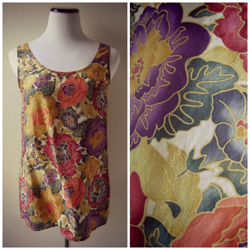 Silk Floral Tank Top 90s Slouchy Cami Blouse Bright Color Small Oversized Baggy Hippie Boho Blouse Revival 1990s Summer Flowy Top Tunic