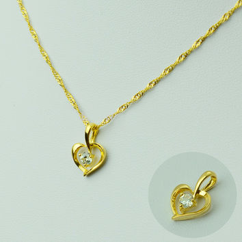 Heart Pendant & Necklaces for Women Gold Plated Romantic Jewelry Chain Gifts for Mom Girlfriend Sister Daughter Girl #045702