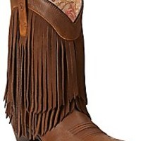 Ariat New West Women's Terra Brown Gold Rush Snip Toe Fringe Western Boots