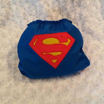 Superman Cloth Diaper Cover or Pocket Diaper- One-Size or Newborn, S, M, L