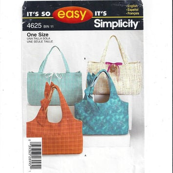 Simplicity 4625 It's So Easy Pattern for 2 Styles of Tote Bags, From 2005, Easy Sew Pattern, Market Bag, Purse, 9 x 14 or 9 x 15, Home Sew