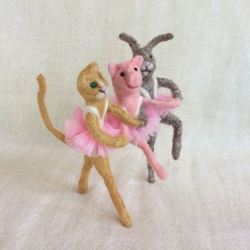 Needle felted ballerina fiber art rabbit cat pig free shipping dancing dance figurine ballet one of a kind unique gift miniature wool felted
