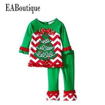 EABoutique Winter New Years Outfit Kids Girls Fashion Christmas outfit Thanksgiving day suit santa tree cartoon pattern
