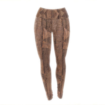 "Matt Eklund ""Indigenous"" Beige Brown Yoga Leggings"