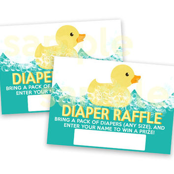 Rubber Duck Baby Shower Diaper Raffle Tickets - Printable DIY Diaper Raffle Ticket - Rubber Duckie - Aqua Teal Blue - Bubbles Instant