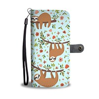 Floral Sloth Wallet Phone Cover