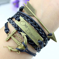 Anchor bronze arrow infinite one direction bracelet, black wax rope bracelets, hope friendship bracelet
