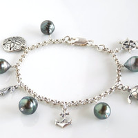 """Tahitian Pearl Charm Bracelet - Nautical Charm Bracelet with Sterling Silver and Baroque Pearls - 7.5"""""""