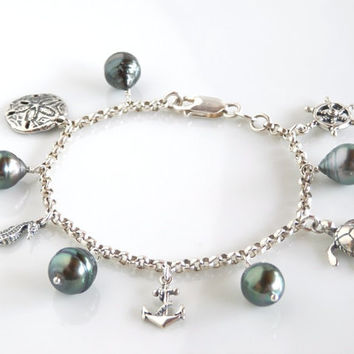 Tahitian Pearl Charm Bracelet - Nautical Charm Bracelet with Sterling Silver and Baroque Pearls - 7.5""
