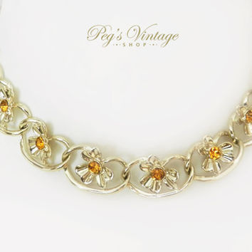 Vintage Flower Link Necklace, Amber Crystal Rhinestone Gold Tone 50's Necklace