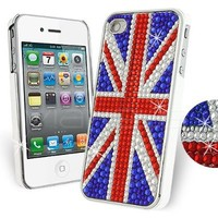 Femeto UK Union Jack Rhinestone Diamante Case for Apple iPhone 4S / iPhone 4 with Screen Guard