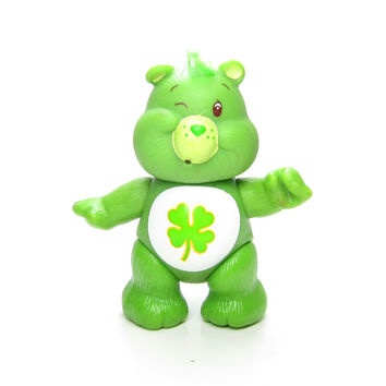 Good Luck Bear Vintage Poseable Green Care Bears Toy Figurine with Shamrock Clover on Tummy