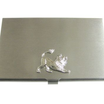 Silver Toned Lion Pendant Business Card Holder