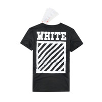 Off White Couple Cotton Short Sleeve Stripes T-shirts [10262358867]