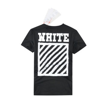 Off White Short Sleeve Couple Round-neck T-shirts [10262359123]