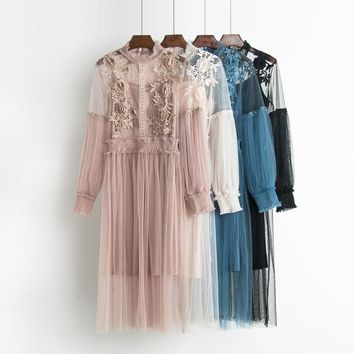 Autumn Korean Vintage Stand Collar Lantern Sleeve Dress Waisted Gauze Mid-length Textural Floral Lace Hollow Out Fairy Dress