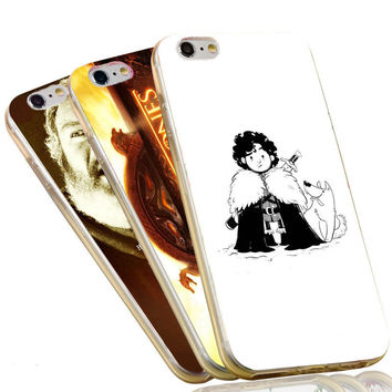 Funny Jon Snow Wolf The Game of Thrones Soft TPU Phone Case For iPhone 4 4S 5C 5 5S SE 6 6S 7 Plus  Cover