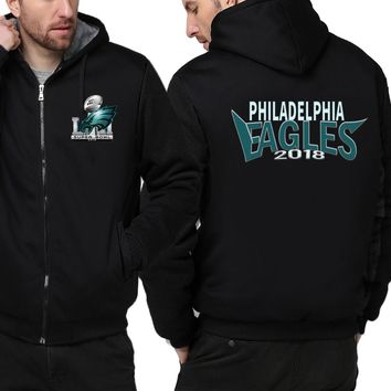 d8e7a432ca0 Philadelphia Eagles Jacket| Fleece Thicken Full Zip Hooded Jacke