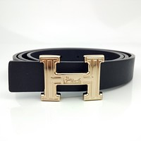 Hermes Simple Retro H Letter Buckle Belt