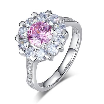 Sterling Silver Wedding Promise Anniversary Ring 1 Ct Pink Simulated Diamond