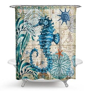 Sea Horse Ocean Shower Curtains 12 Hook