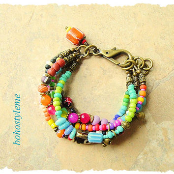 Bohemian Jewelry, Colorful Boho Jewelry, Layered Bracelet, Handmade Beaded Bracelet, bohostyleme, Kaye Kraus