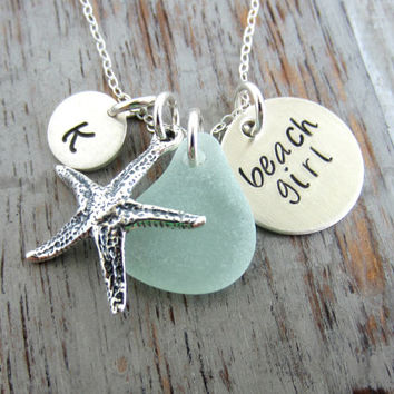 Beach Girl, Personalized Charm Necklace, Sterling Silver Starfish, Sea Glass and Initial Charm, Sea Foam, Mint Green, Hand Stamped seaglass
