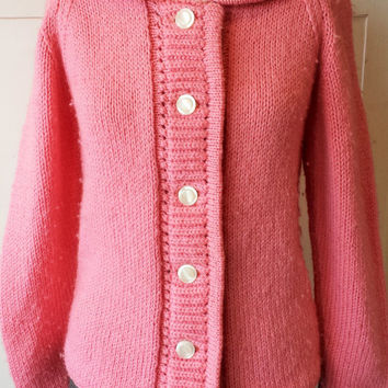 Vintage 1960s Pink Sweater / Knit 60s Cardigan / Autumn Sweater / Button Up Sweater / Vintage Cardigan