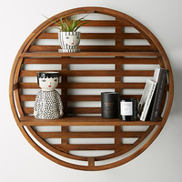Wooden Wheel Shelving Unit